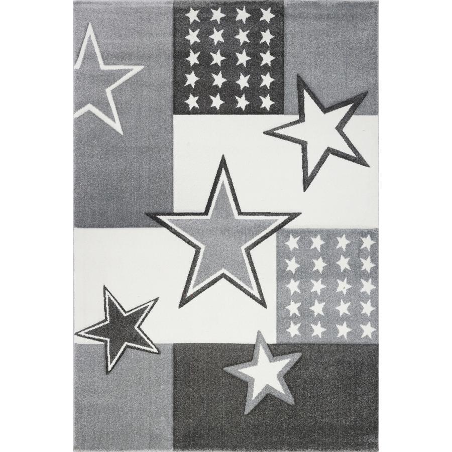 LIVONE leg og børnetæppe Kids Love Rugs Starfield, hvid / grå, 120 x 170