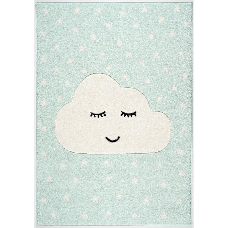 LIVONE Spiel- und Kinderteppich Kids Love Rugs Smiley Cloud, mint/weiss, 100 x 150 cm