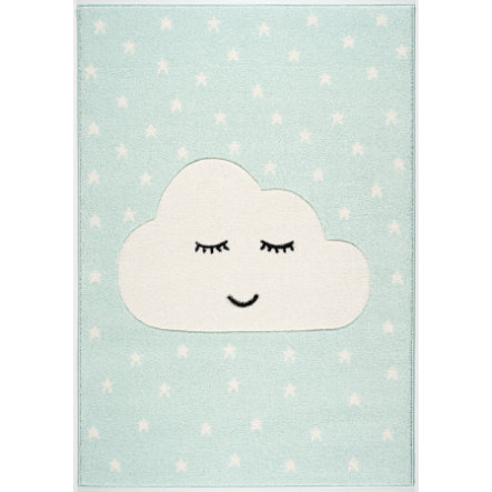 LIVONE Tappeto da gioco per bambini Kids Love Rugs Smiley Cloud, menta/bianco, 120 x 170 cm