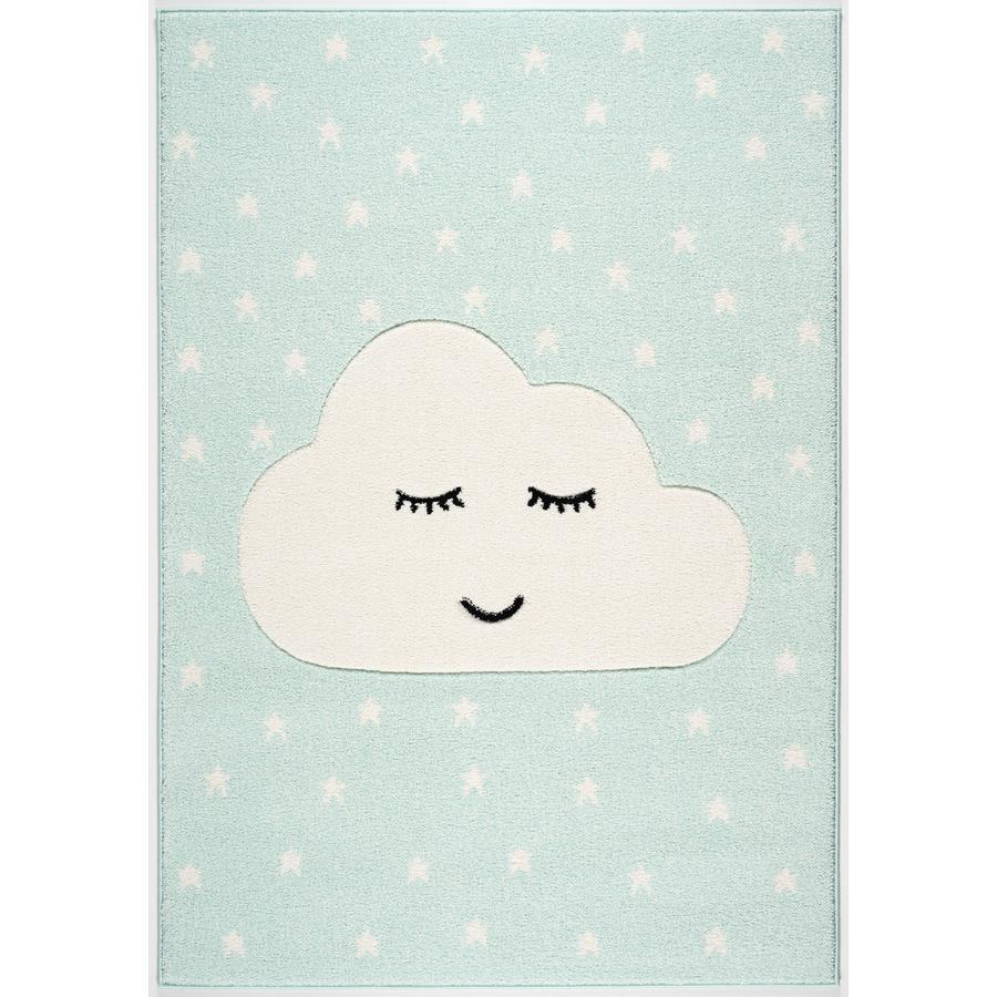 LIVONE leg og børnetæppe Kids Love Rugs Smile y Cloud, mynte / hvid, 120 x 170 c