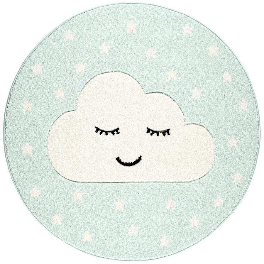 LIVONE lek og barneteppe Kids Love Rugs Smile y Cloud, mynte / hvit, 160 cm
