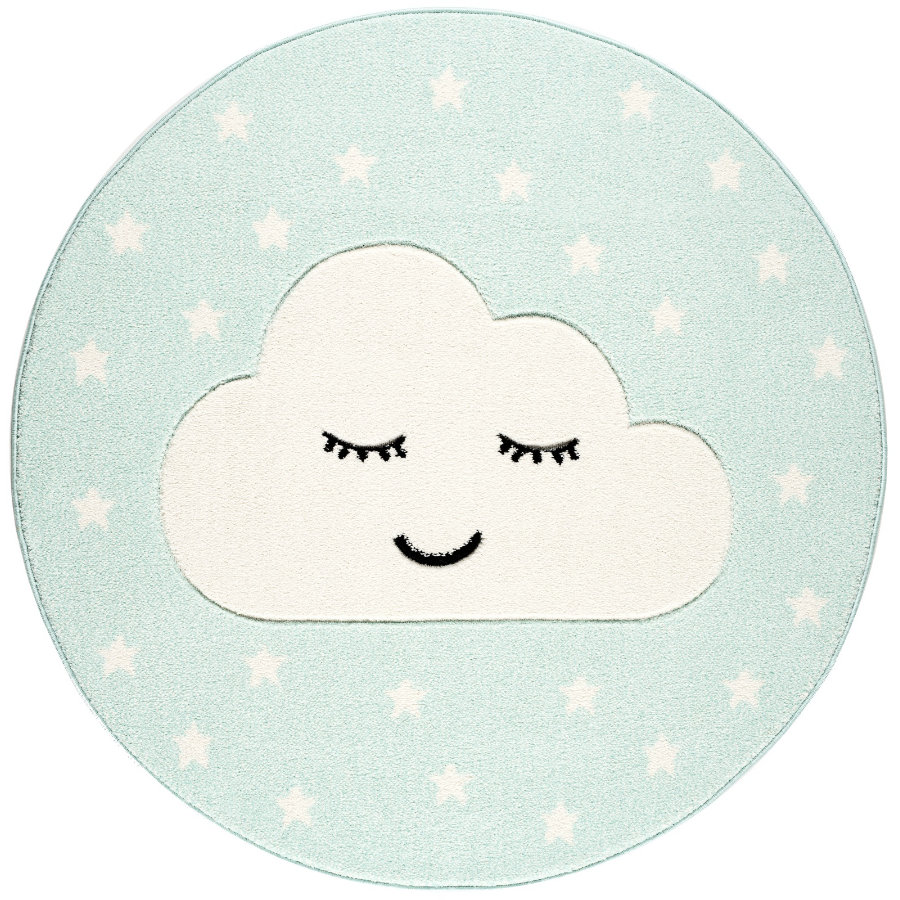 LIVONE Tapijt Kids Love Rugs Smiley Cloud rond mint/wit 160 cm