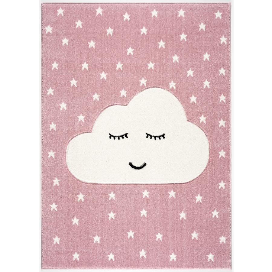 LIVONE lek og barneteppe Kids Love Rugs Smile y Cloud, rosa / hvit, 100 x 150 cm
