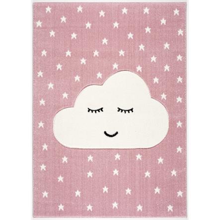 LIVONE Barnmatta Kids Love Rugs Smiley Cloud rosa/vit, 120 x 170 cm
