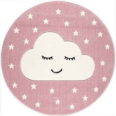 LIVONE Tapijt Kids Love Rugs Smiley Cloud rond roze/wit 133 cm