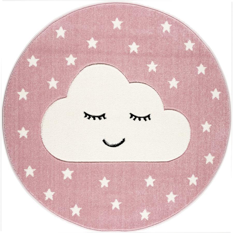 LIVONE leg og børnetæppe Kids Love Rugs Smile y Cloud, pink / hvid, 133 cm
