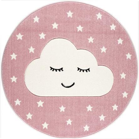 LIVONE Dywan dziecięcy Kids Love Rugs Smiley Cloud, okrągły 160 cm, kolor różowy/biały