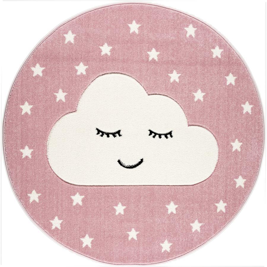 LIVONE play a dětský koberec Kids Love Rugs Smile y Cloud, růžová / bílá, 160 cm