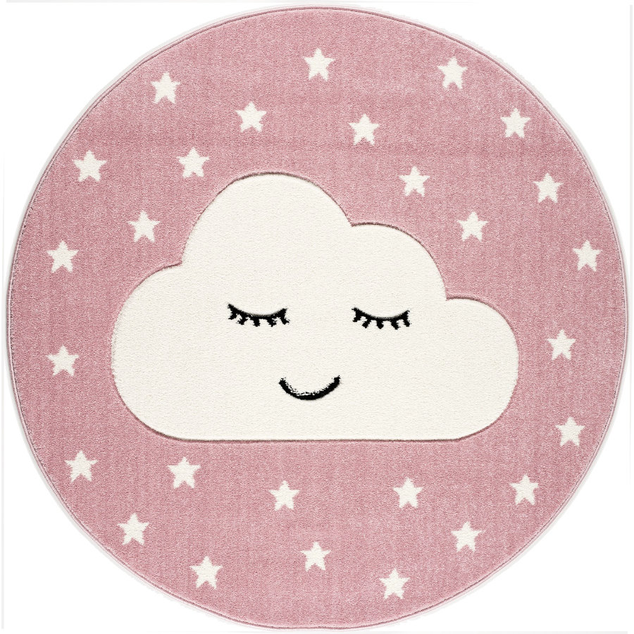 LIVONE Tapijt Kids Love Rugs Smiley Cloud rond roze/wit 160 cm