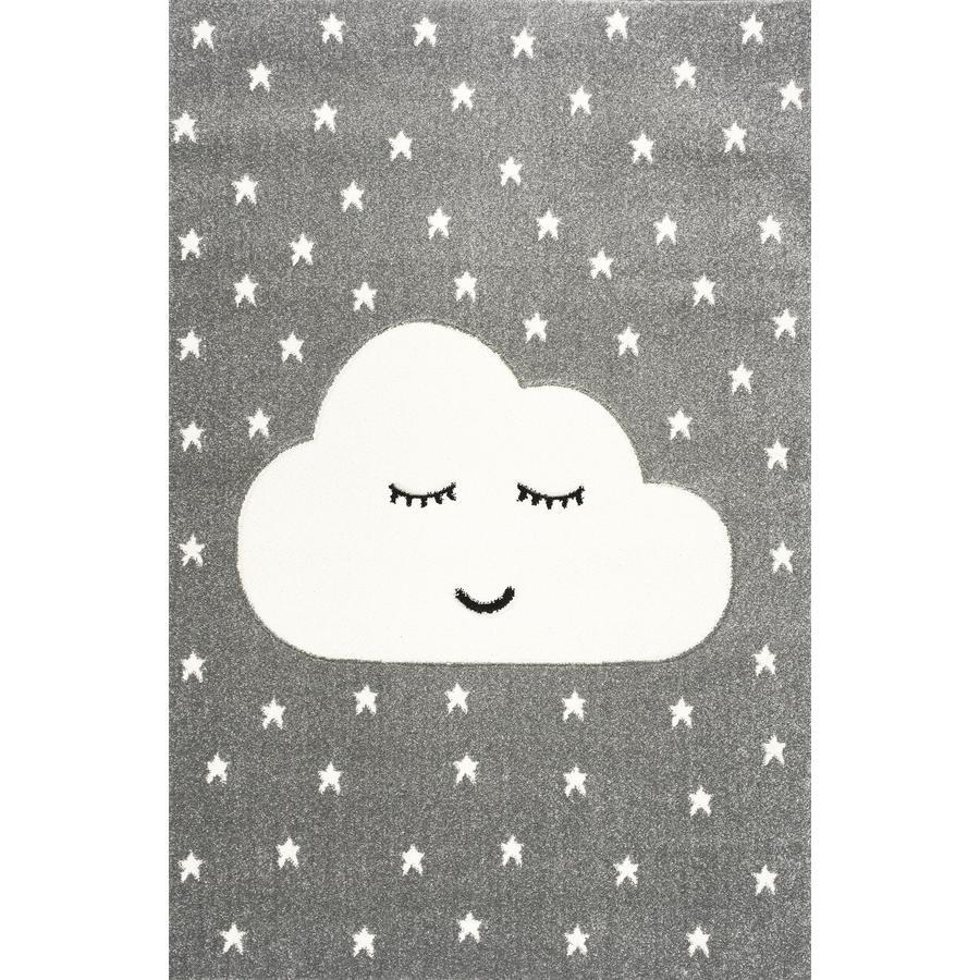 LIVONE Tapijt Kids Love Rugs Smiley Cloud zilvergrijs/wit 120 x 170 cm