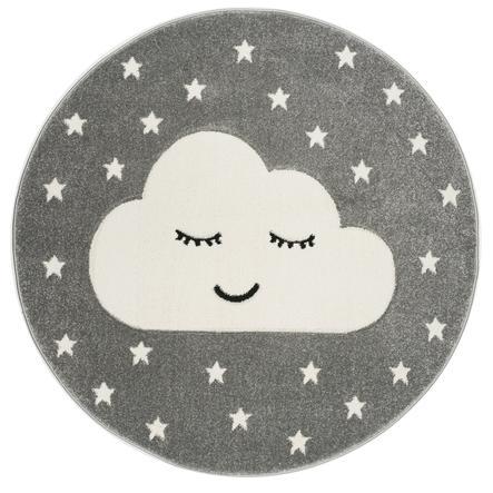 LIVONE Tapis enfant Kids Love Rugs Smiley Cloud gris argenté/blanc 160 cm