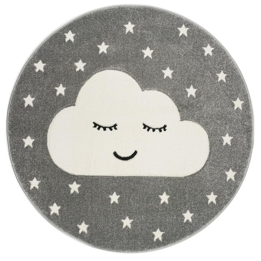 LIVONE Tapijt Kids Love Rugs Smiley Cloud rond zilvergrijs/wit 160 cm