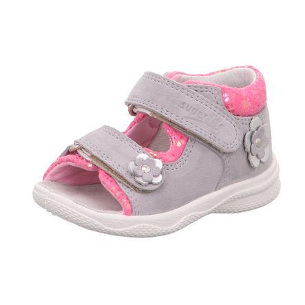 superfit Sandales enfant Polly gris clair/rose, largeur moyenne