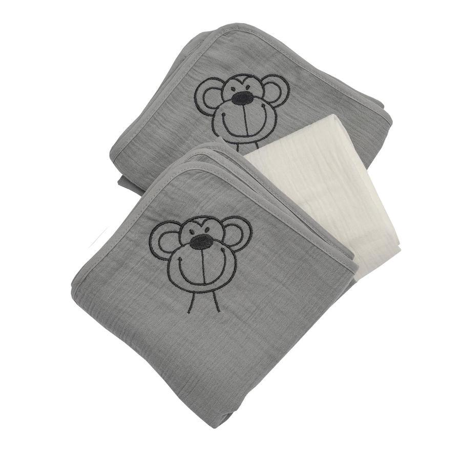 Be Be's Collection muslin gázová plenka 3-packová opice šedá 60 x 60 cm