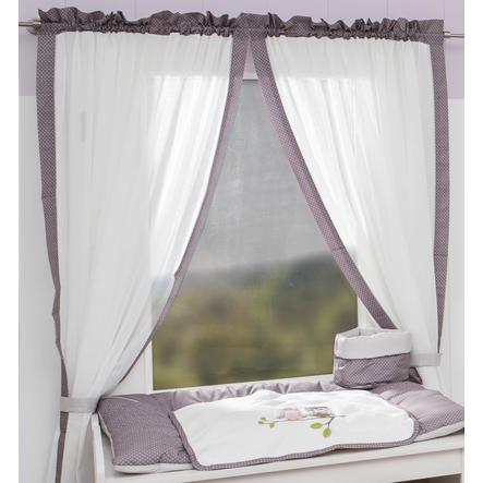 Tenda Be 's Collection 2 sciarpe ad anello gufi rosa 100 x 150 cm