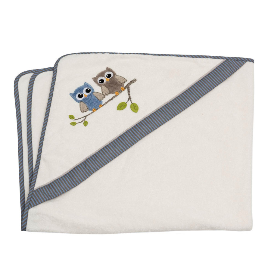 Colección Be Be 's toalla de baño con capucha búho azul 100 x 100 cm