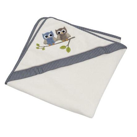 Be Be 's Collection Asciugamano con cappuccio Gufi blu 80 x 80 cm