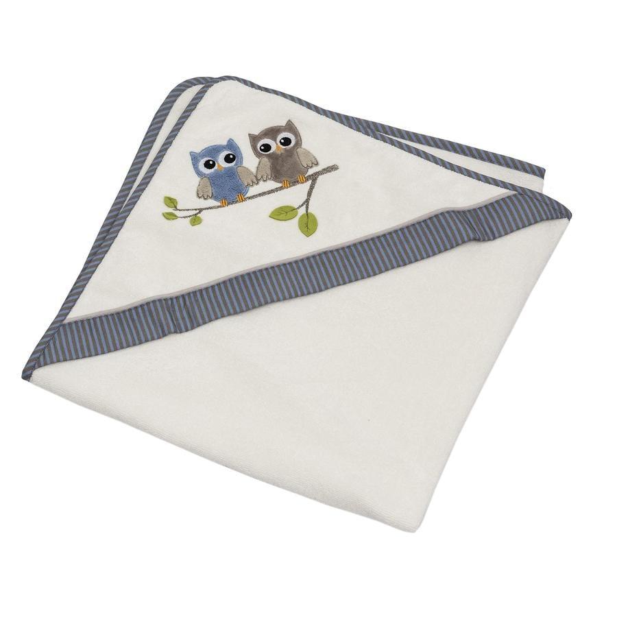 Be Be 's Collection Handdoek met capuchon Uilen blauw 80 x 80 cm