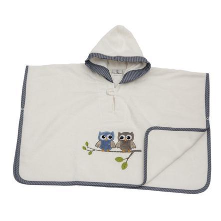 El poncho de la Colección Be 's con búhos de capucha azul
