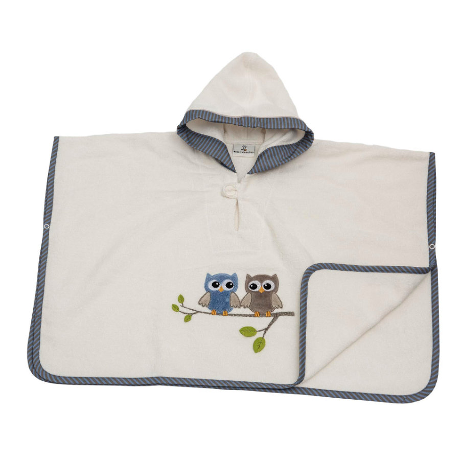 Poncho Be 's Collection con cappuccio gufi blu
