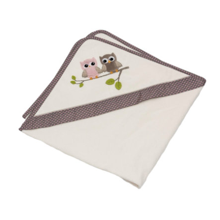 BeBes Collection Cape de bain enfant hiboux rose 80x80 cm
