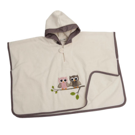 Be's Collection Poncho hooded sowy różowe