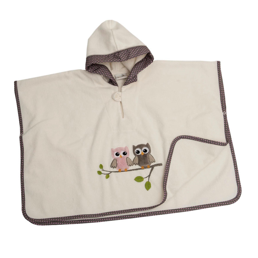 Be Be 's Collection Poncho met capuchon Uilen roze