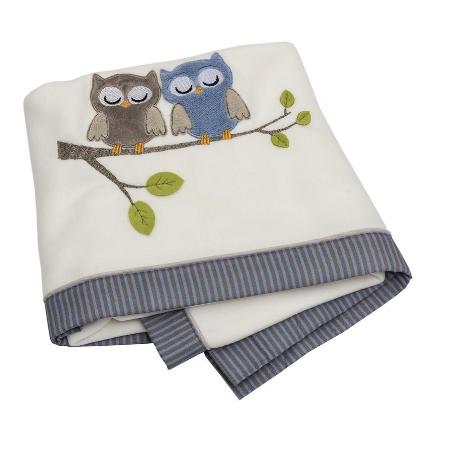 Be 's Collection Fleece tæppe ugler blå