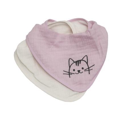 Be Be 's Collection Musselin Haklappar 2-pack Katt rosa