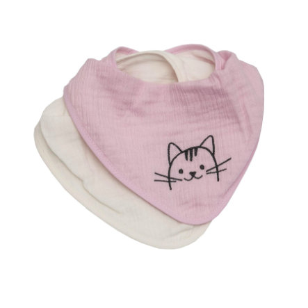 Be 's Collection Muslin Drool Bavaglino Muslin Drool bavaglino 2-pack rosa gatto