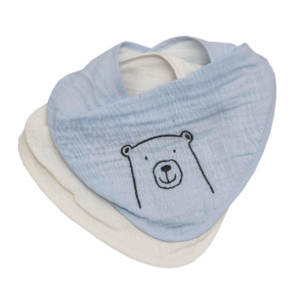 Be Be's Collection Muslin Slobber Bib 2-pack Bear modrá