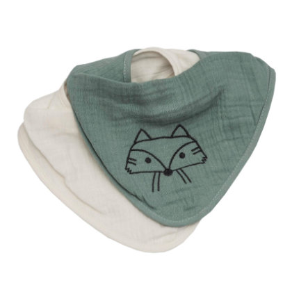 Be Be's Collection Muslin drool bib 2 packy Fox green