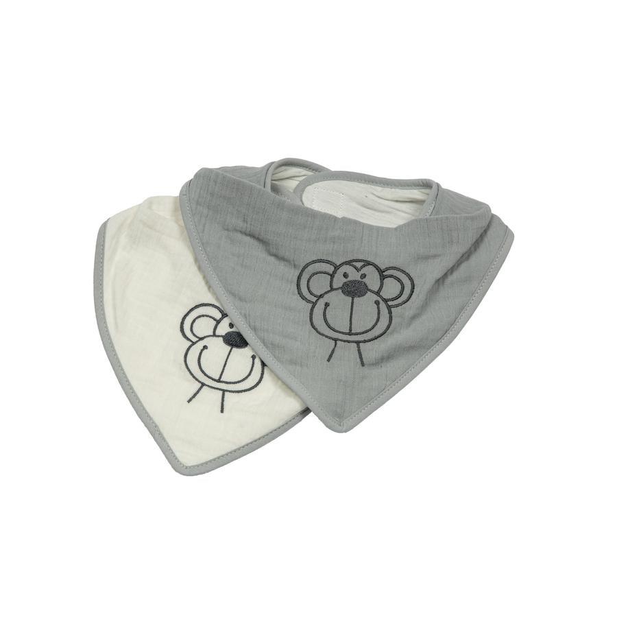 Be Be's Collection Muslin Drool Bib 2 opice šedá