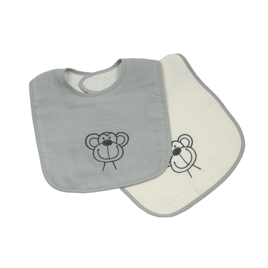 BeBes Collection Bavoir à scratch mousseline singe gris lot de 2