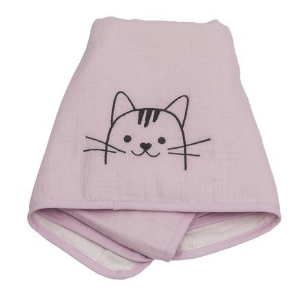 Colección Be Be 's Manta de muselina rosa de gato 70 x 100 cm