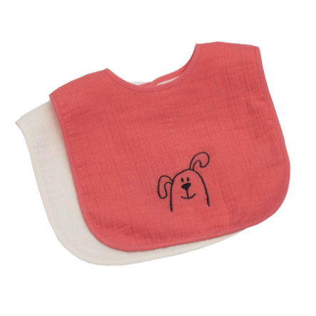 Be Be's Collection Muslin suchý zip Bib 2-pack pes losos
