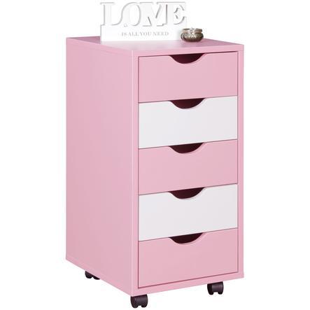 Wohnling ® Szafka na kółkach Mina, różowy/biały