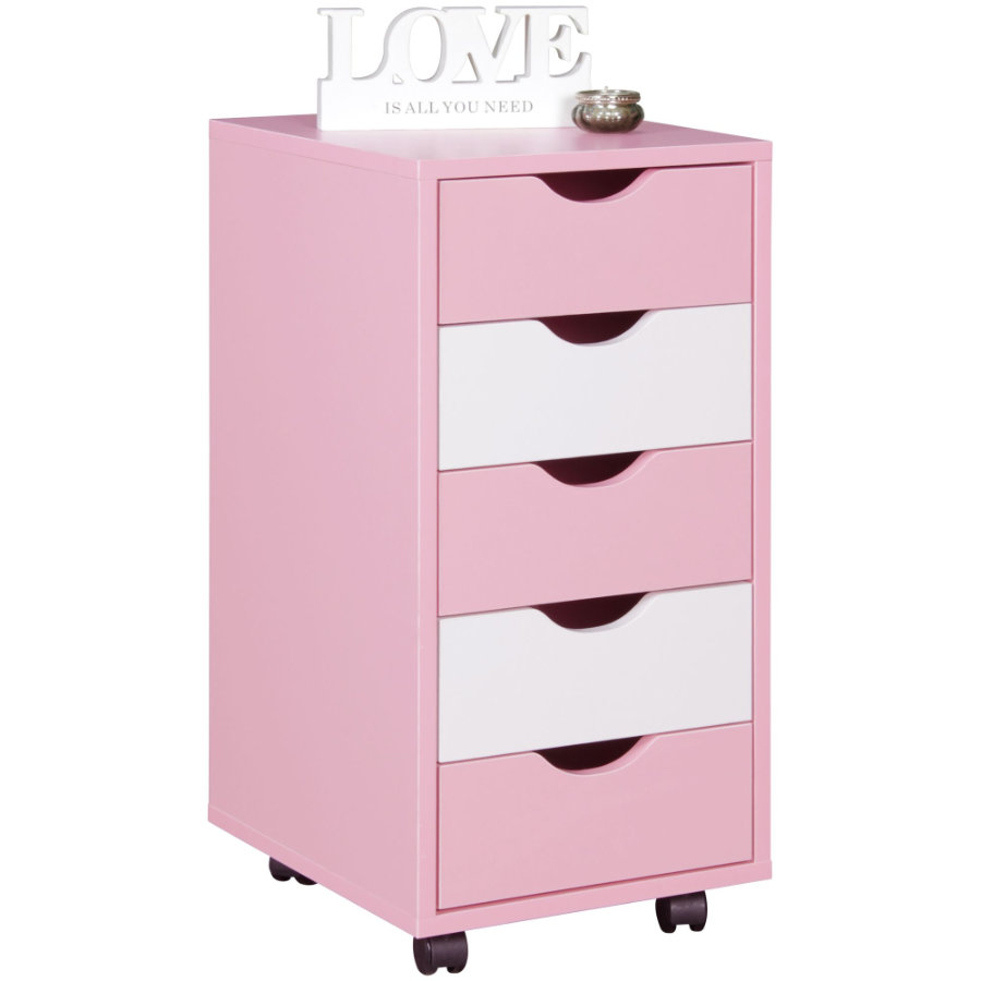 Wohnling ® Rolcontainer Mina, roze/wit