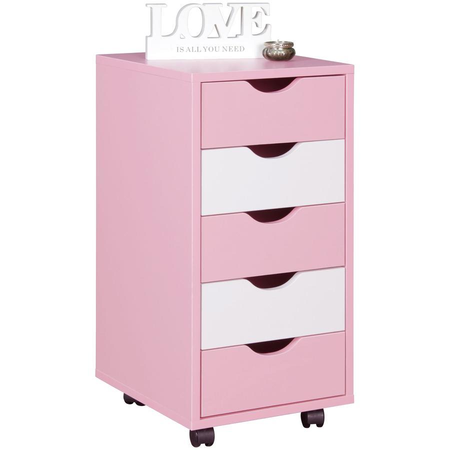 Wohnling ® Rullbehållare Mina, rosa / vit