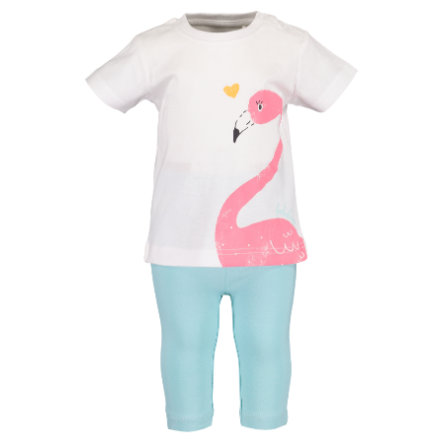 BLUE SEVEN Girls 2er Set T-Shirt + Capri Hose Weiss