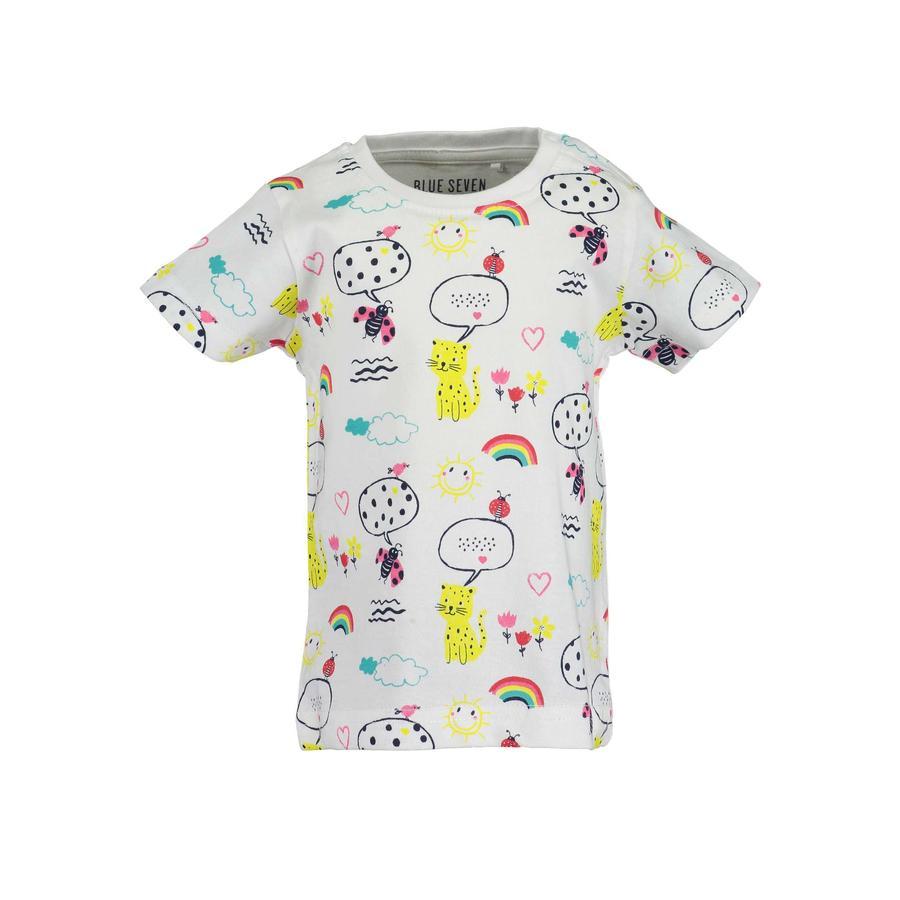 BLÅ SEVEN T-shirt för flickor vit regnbåge