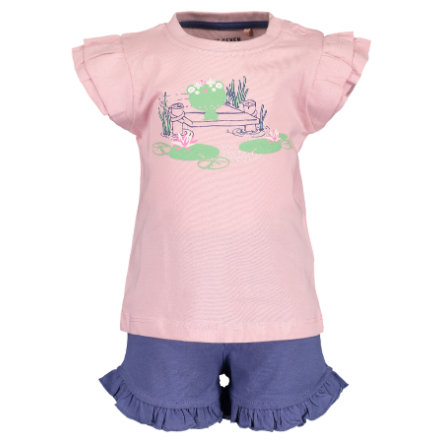 BLUE SEVEN Girls Set med 2 T-shirt + shorts rosa
