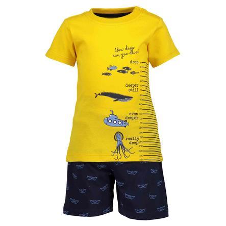 BLUE SEVEN Dívčí sada 2 trička + šortky žloutek