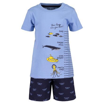 BLUE SEVEN Dívčí sada 2 triček + šortky světle modrá