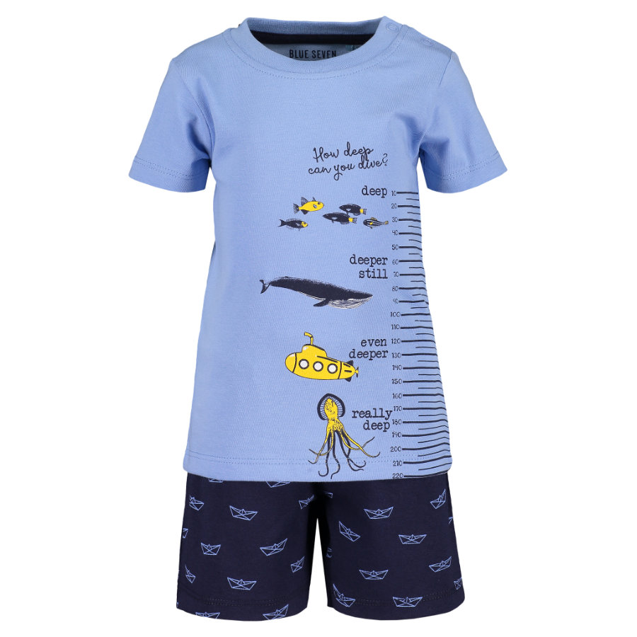 BLUE SEVEN  Girls Set van 2 T-shirt + Shorts lichtblauw