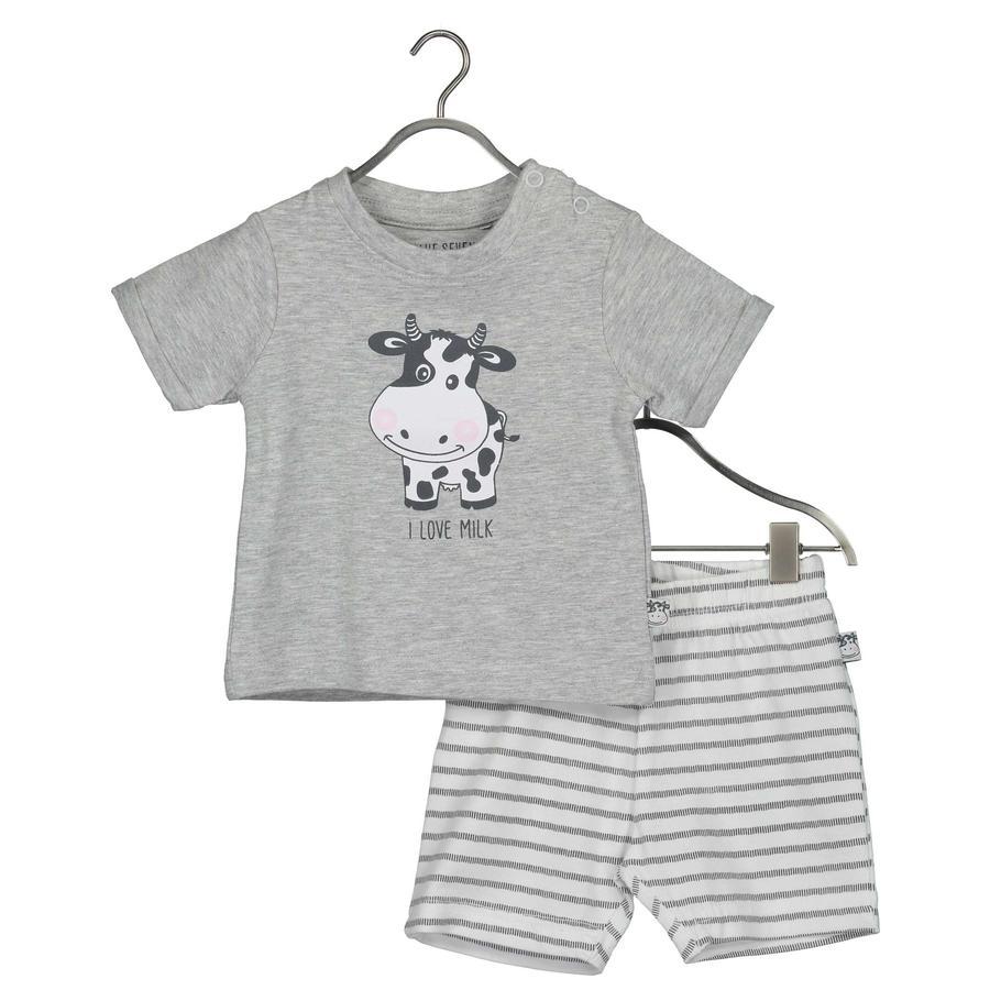 BLUE SEVEN  Ensemble bébé 2 pièces Milk Shirt + gris moyen Shorts