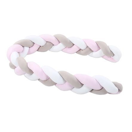 babybay® Nestchenschlange Zopfmuster weiß/beige/rosé 200 cm