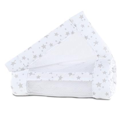 babybay ® hnízdo ze síťoviny piqué Originální bílé hvězdy perla šedá 149x25 cm