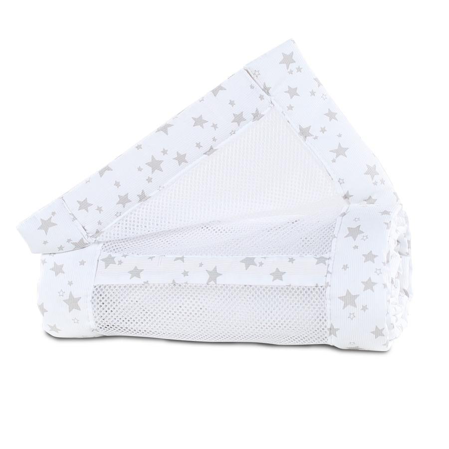 babybay ® nido maglia piquet Original bianco stelle bianche grigio perla 149x25 cm