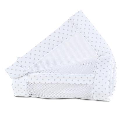 babybay ® nestnettpiké Original hvite prikker perlegrå 149x25 cm
